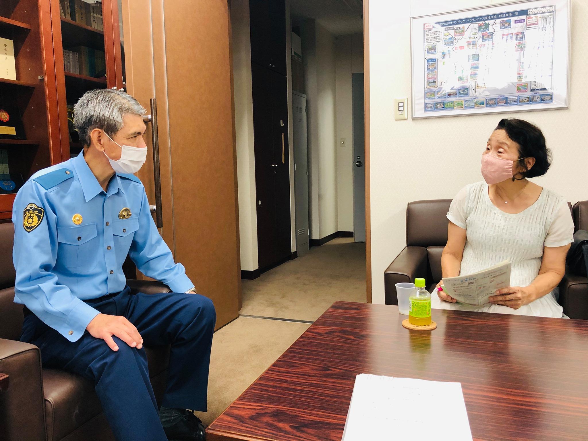 三鷹警察署を訪問し三鷹市での犯罪情勢を確認しました。