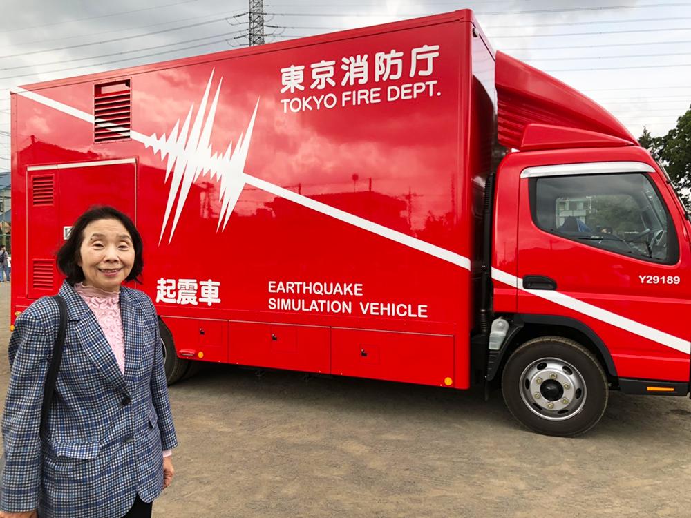 新川中原住民協議会主催「コミュニティまつり」で起震車を体験
